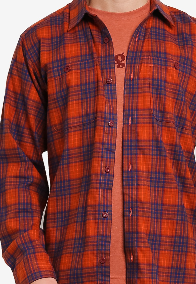 Plaid Pima Sleeve Patagonia Roots Miles Shirt Red River Long Cotton qB0T5qw