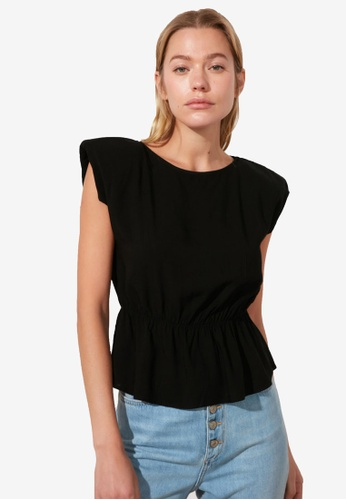 Trendyol black Shoulder Pad Gathered Waist Top 50992AAB76C9B8GS_1