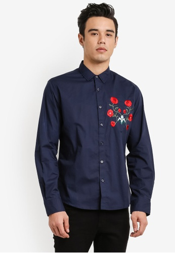 ZALORA navy Embroidered Patch Long Sleeve Shirt 21651AABFC060CGS_1