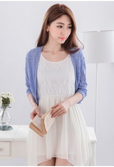 [IMPORTED] Simple Cropped Lace Cardigan - Blue