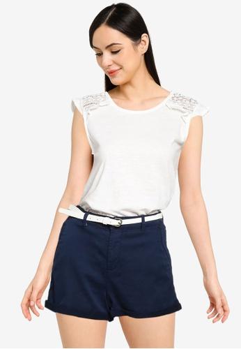 Springfield white Crochet Shoulders T-Shirt 721EDAA07E45ADGS_1