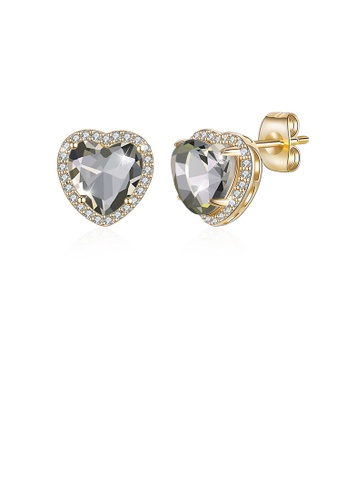 Glamorousky white Simple Plated Champagne Gold Heart Grey Austrian Crystal Stud Earrings 93464AC44B4A9EGS_1