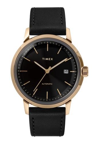 Timex black and gold Timex Marlin Automatic 40mm - Gold-Tone Case, Black Strap (TW2T22800) 9DE83AC9E5B880GS_1