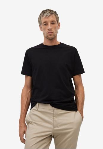 Mango Man black Organic Cotton T-Shirt 53B82AA343C031GS_1
