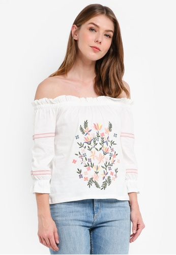 Dorothy Perkins white Petite Latina Flower Bardot Top 88F57AA4334608GS_1