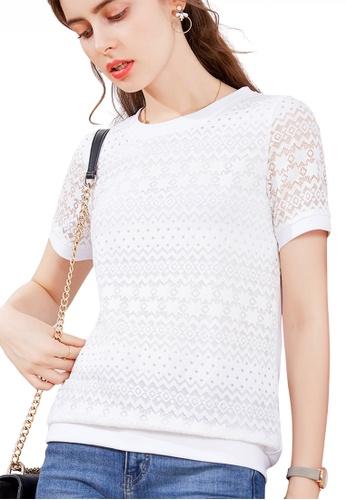 HAPPY FRIDAYS white Feminine Lace Round-Neck Top JW GW-J200 C7422AA790A598GS_1