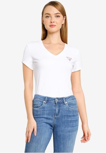 GUESS white Short Sleeve V-Neck Mini Triangle Tee A551FAAA2AB5DEGS_1