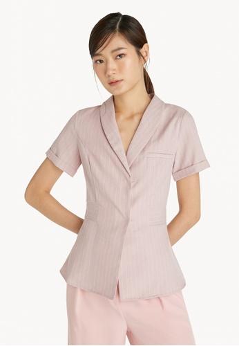 Pomelo pink Pinstripes Cuffed Sleeve Shirt - Pink 74DADAA12CD350GS_1