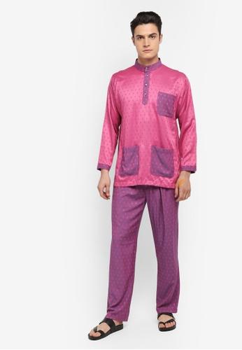 Mayasilk pink Baju Melayu SB Contrast Diamand Print AD12AAA23A7B47GS_1