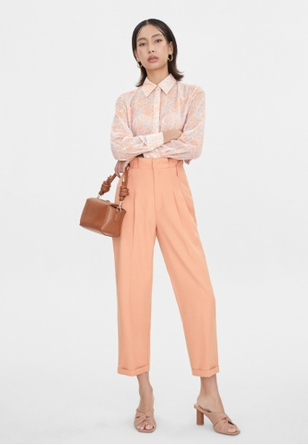 Pomelo orange Leaf Print Semi Sheer Shirt - Orange A356FAAA733590GS_1