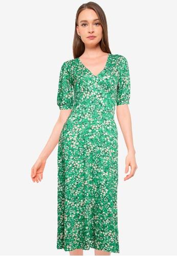 Miss Selfridge green Green Floral Jersey Midi Dress 5C01AAA622F01DGS_1