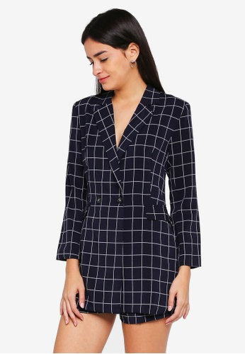 MDSCollections blue and navy Jordina Buttoned Romper In Midnight Checks BAED5AA5804024GS_1