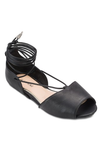 Abowen 亮面蛇紋繫帶平底鞋zalora 折扣碼, 女鞋, 鞋