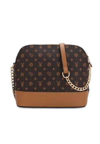 PLAYBOY BUNNY brown Chain Sling Bag AE15CAC9C41397GS_1