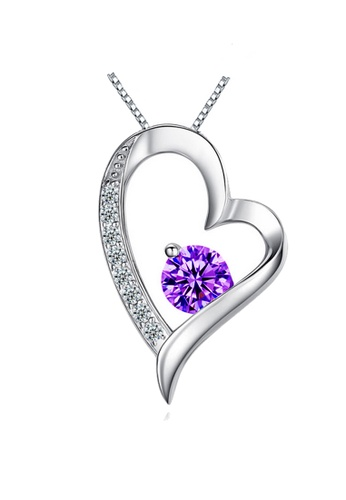 YOUNIQ silver YOUNIQ Filled In Love 925 Sterling Silver Pendant Necklace with Purple Cubic Zirconia 6B456AC065980FGS_1