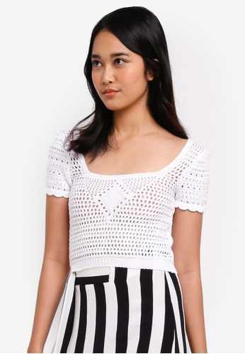 TOPSHOP white Stitched Square Neck Top C5A4FAA4B10F41GS_1