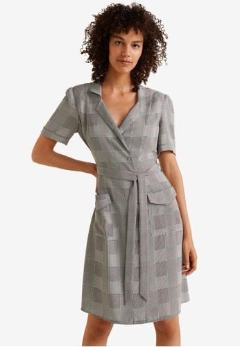 Mango grey Print Wrap Dress 1AE0CAABEEEC32GS_1