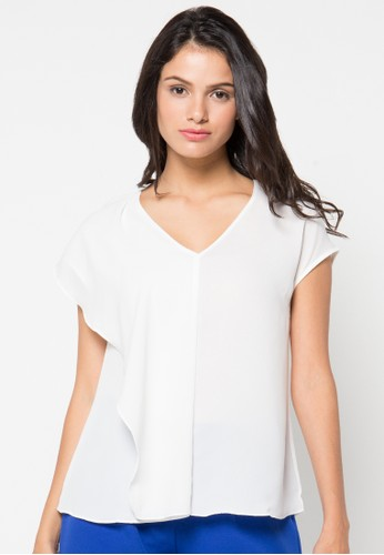 Raspberry white Bonnie Short Sleeve Blouse RA572AA46QZXID_1