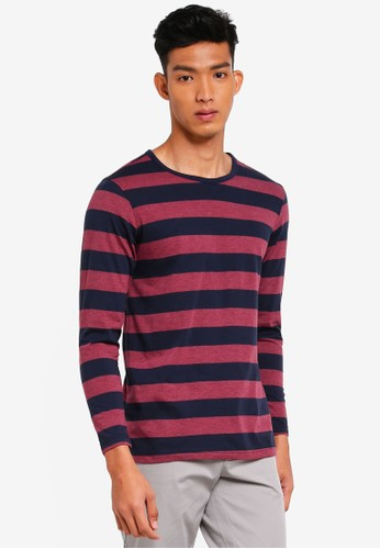UniqTee red and navy Striped Long Sleeve Tee 6CEE9AA4EA6DFCGS_1