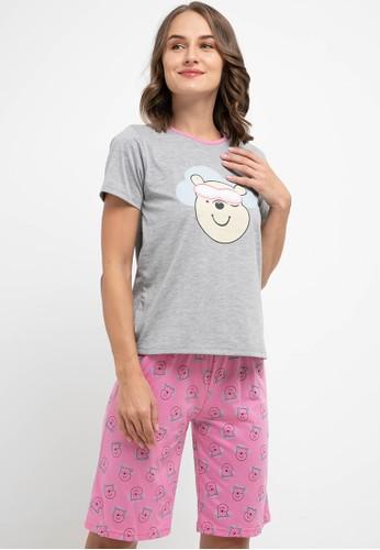 Puppy pink and grey Pyjama Pijama Short Sleeve Short Pants Sleepwear 4AB5CAA58EBDF9GS_1