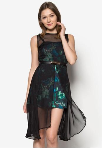 網紗拼接esprit 香港 outlet印花連身裙, 服飾, 夏日洋裝