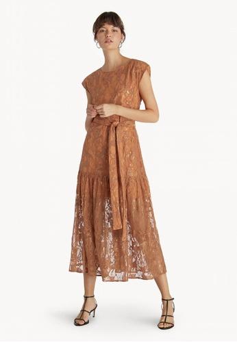 36420b0eb644 Pomelo orange Premium Midi Lace Belted Skater Dress - Orange  EC35BAA8672443GS 1