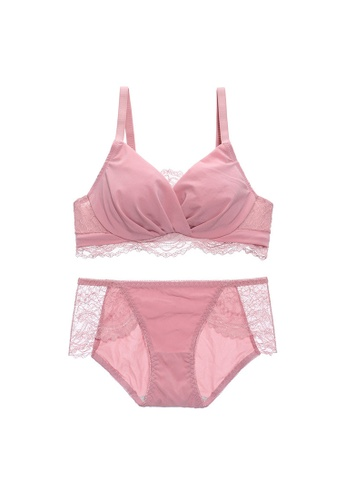 Midnight 粉紅色 Premium Lace Pink Lingerie Set (Bra and Underwear) BB09CUS2D8C733GS_1
