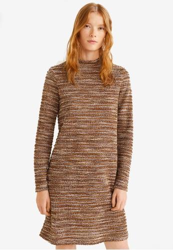 Mango brown High Collar Tweed Dress FD4F9AA8642A9CGS_1