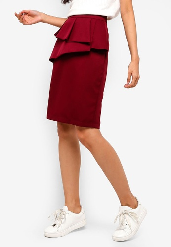 ZALORA red Ruffles Skirt 72296AAB8982EAGS_1
