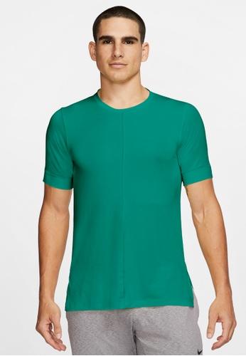 Nike green Men's Dri-FIT Yoga Short-Sleeve Top 30893AA27E8051GS_1