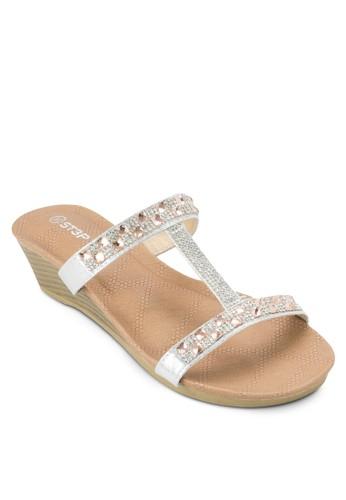 閃飾工字帶楔型涼zalora 評價鞋, 女鞋, 鞋