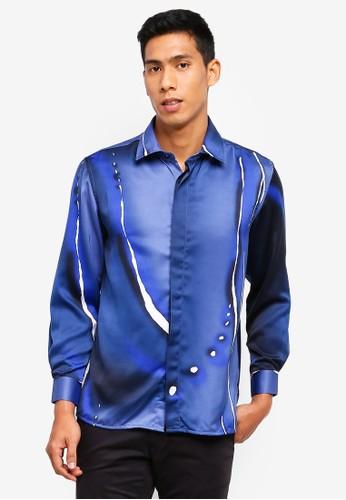 Gene Martino blue Men's Batik Shirt D9D87AA559BE61GS_1