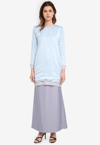 JubahSouq blue Areeya Scallop Kurung JU399AA0SZ3SMY_1