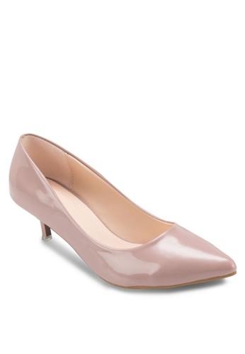 漆面尖頭低跟鞋, 女鞋, 厚底高zalora 台灣門市跟鞋