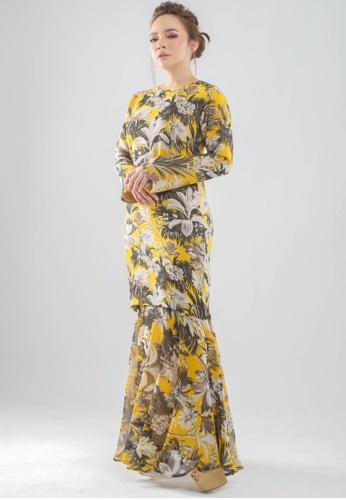 OWLBYND yellow Ranya Set Printed Modern Kurung EEAC0AAE5DA904GS_1