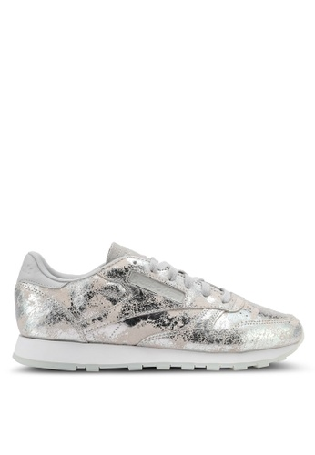 Reebok white and silver CL Leather Hype Metallic Shoes RE691SH0SJSJMY_1