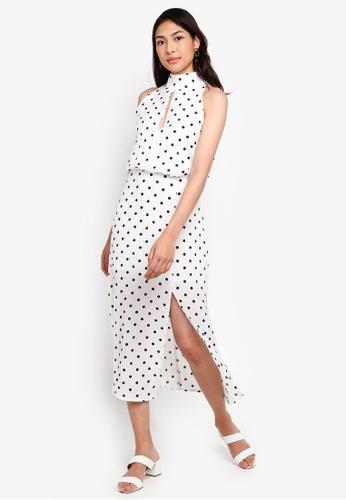 Glamorous white High Neck Cut Out Polka Dot Dress 2F39BAA3588C6FGS_1