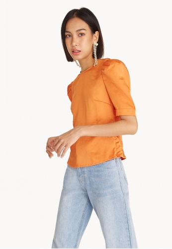 Pomelo orange Puffed Sleeves Round Neck Top 4AC15AA85B3CD0GS_1