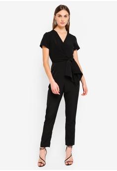 6f0bf148975 Dorothy Perkins black Black Wrap Front Jumpsuit DE0B1AA1ADAD05GS 1