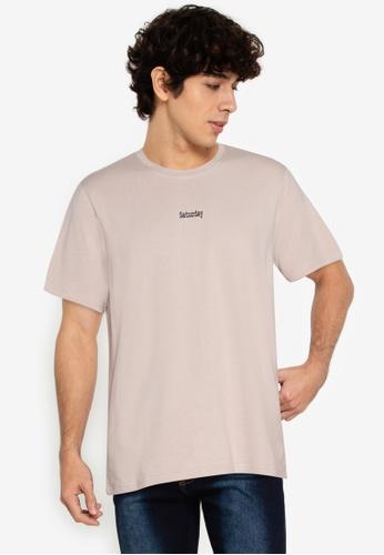 ZALORA BASICS beige Saturday T-Shirt 77CFAAAF5C929EGS_1