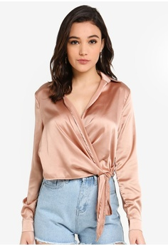 3a901931d469 MISSGUIDED brown Tie Side Satin Blouse C6F83AA9A5F14DGS_1