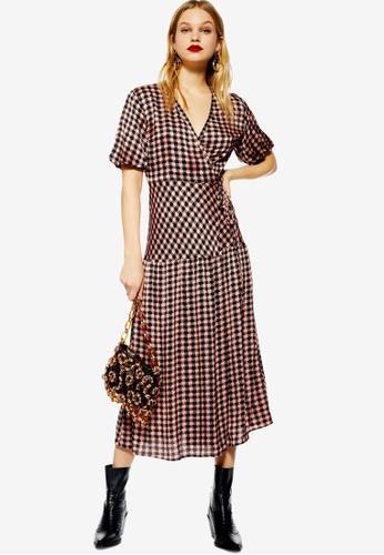 ea82727580c9 Buy TOPSHOP Dixie Check Wrap Midi Dress | ZALORA HK