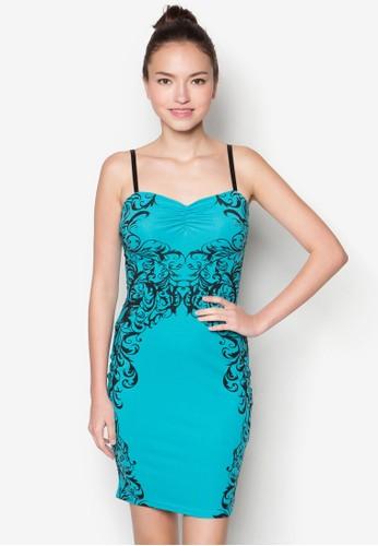 印花細肩帶貼zalora 包包評價身洋裝, 服飾, 洋裝