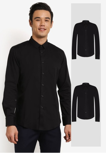ZALORA black 2 Pack Skinny Fit Cotton Poplin Long Sleeve Shirt ZA819AA0RO10MY_1