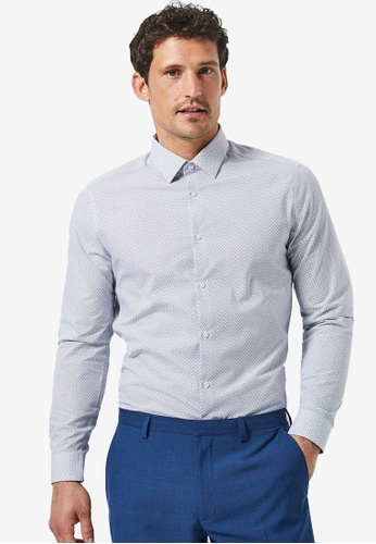 Burton Menswear London 紅色 白色 & 紅色 修身Circle 印花襯衫 2C21FAA50ACAEFGS_1