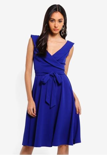 Goddiva blue Cross Over Midi Dress FCC53AA480E5E2GS_1
