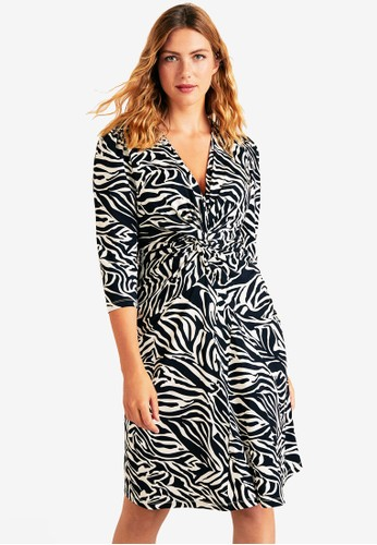 Violeta by MANGO white Plus Size Flowy Zebra Printed Dress 2EB27AA847DFD4GS_1