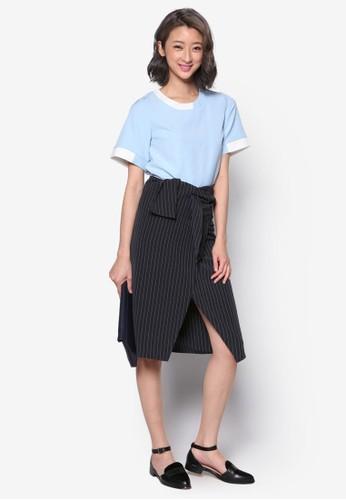裹飾繫帶細條紋及膝短裙, 服飾, esprit outlet hong kong裙子