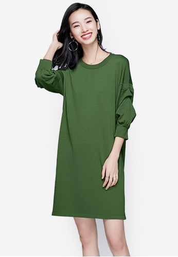 Sunnydaysweety green Classic Pure Color Knit One Piece Dress 223FAAA37ABDD6GS_1