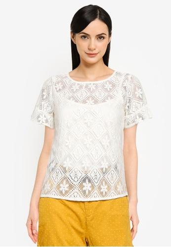 Springfield brown Flounced Crochet Sleeves T-Shirt 2B47BAA07A57F7GS_1